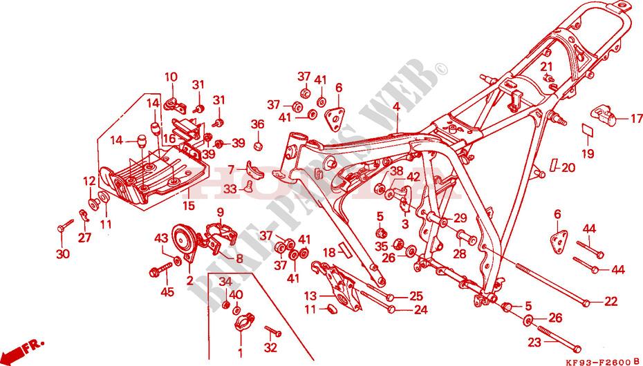 CUERPO DE BASTIDOR Chasis XL185SL 1990 XL 185 MOTO Honda motocicleta ...