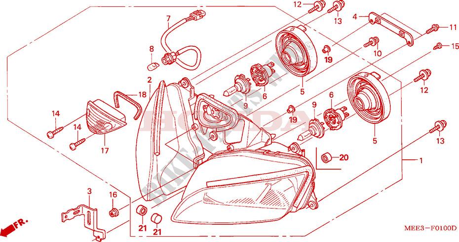 Faro delantero para Honda CBR 600RR 2003//2006