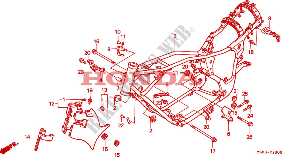 CUERPO DE BASTIDOR Chasis NV600CR 1994 STEED 600 MOTO Honda ...