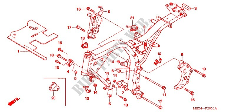 CUERPO DE BASTIDOR Chasis CB600F6 A 2006 CB 600 MOTO Honda ...